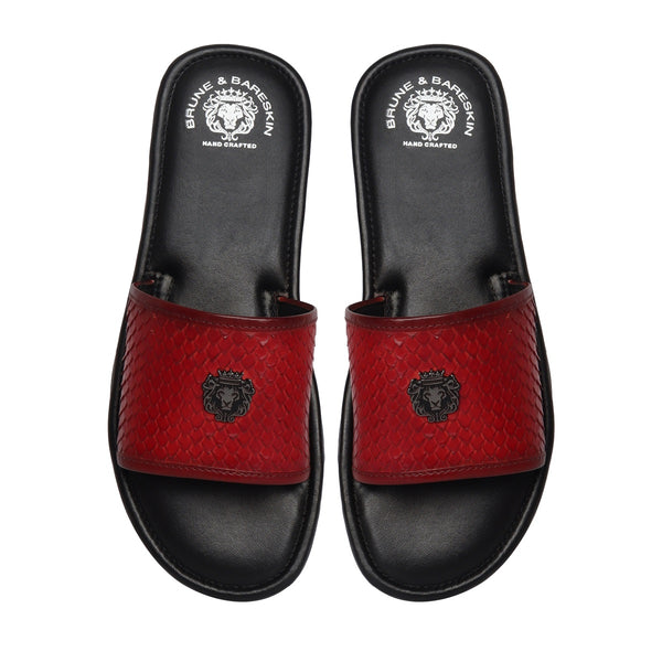 Red Snake Scale Textured Leather Strap Sliders by BRUNE & BARESKIN