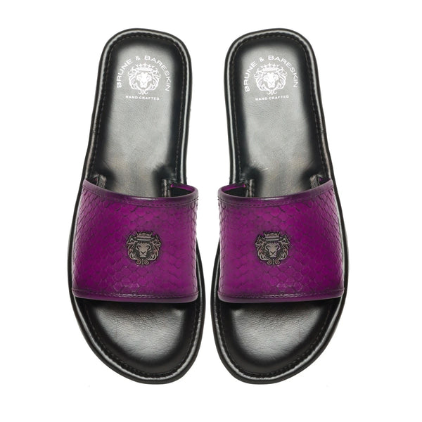 Pink Snake Scale Textured Leather Strap Sliders by BRUNE & BARESKIN