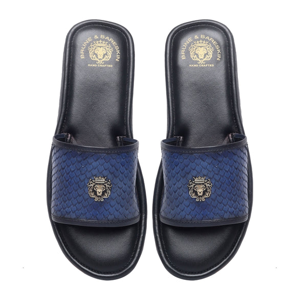 Blue Snake Scale Textured Leather Strap Sliders by BRUNE & BARESKIN