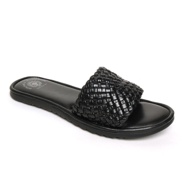 Black Hand Weaved Leather Strap Sliders by BRUNE & BARESKIN