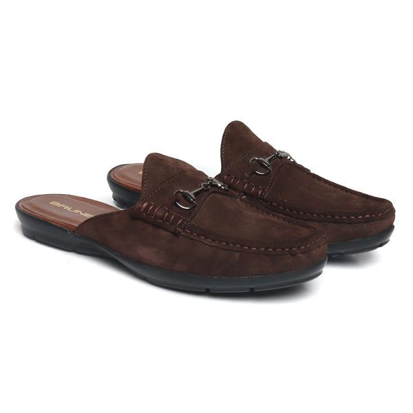 Brown Suede Leather Horsebit Loafer Mules by BRUNE