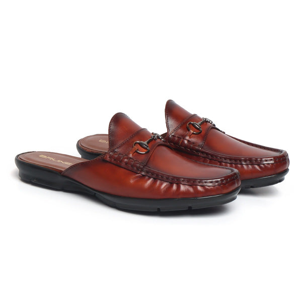 Cognac Leather Horsebit Loafer Mules by BRUNE
