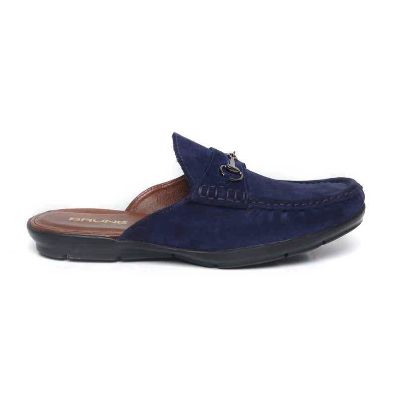 Blue Suede Leather Horsebit Loafer Mules by BRUNE
