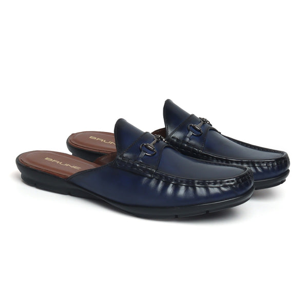 Blue Leather Horsebit Loafer Mules by BRUNE