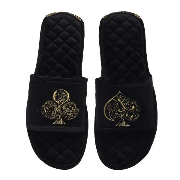 Golden Poker Detailed Embroidery Super Soft Base Black Velvet Slide-in Slippers by Brune & Bareskin