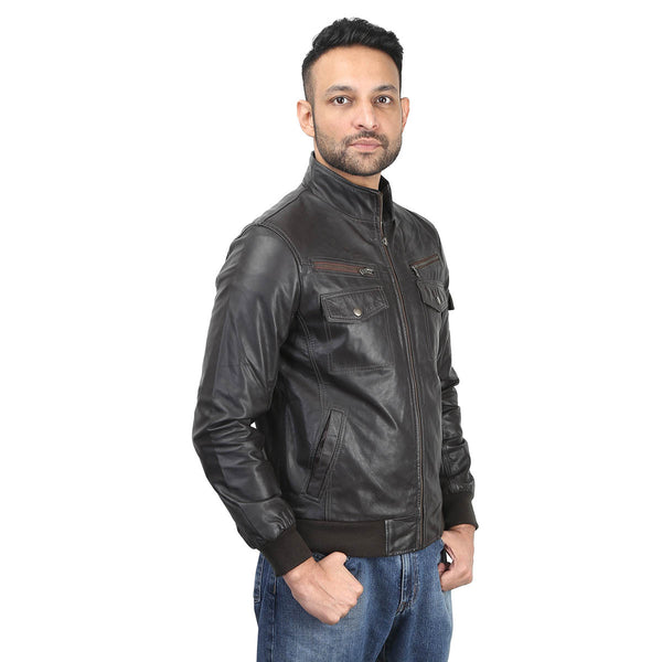 Brown Genuine Leather Bomber Jacket With Stylish Flap Pockets By Bareskin