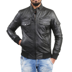 Bareskin Men's Lamb Leather Black Biker Jacket