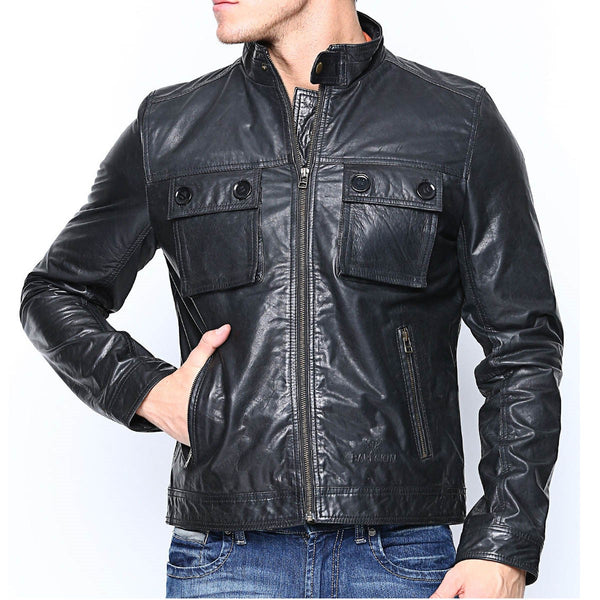 Bareskin Black Colour Regular Fit Genuine Leather Jacket For Men