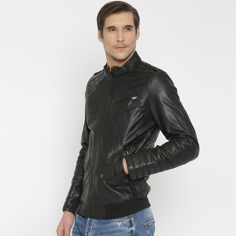 Black Leather Diamond Stitched Shoulder Men Jacket By Bareskin