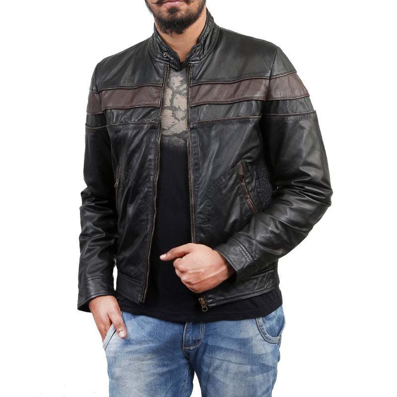 Bareskin Men's Black Motto Leather Jacket
