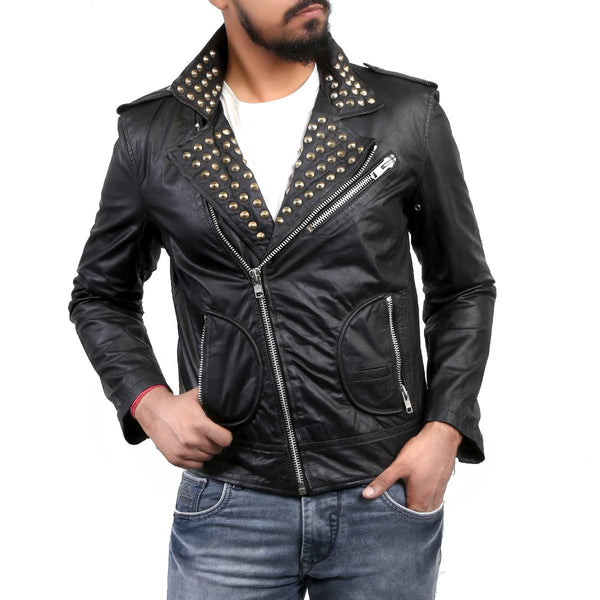 Bareskin Men's Studded Collar Black Leather Biker Jacket