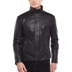 Men'S Genuine Leather Black Colour Regular-Fit Jacket By Bareskin