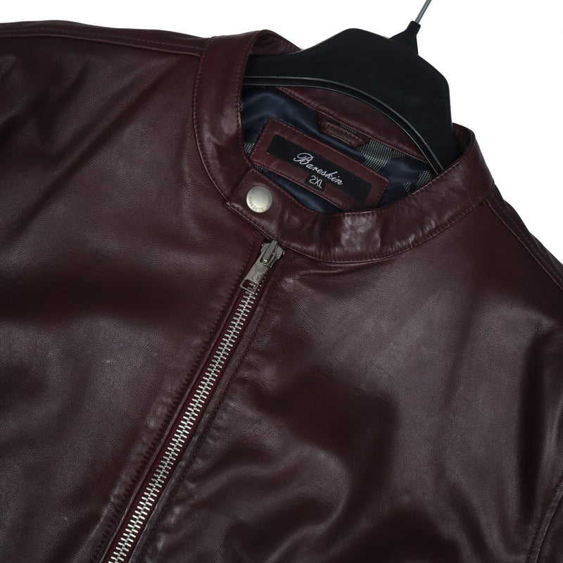 Men's Genuine Leather Wine Colour with Metal Lion Jacket By Bareskin
