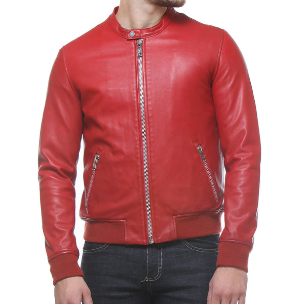 Bareskin Blood Red Colour Genuine Leather Bomber Jacket For Men