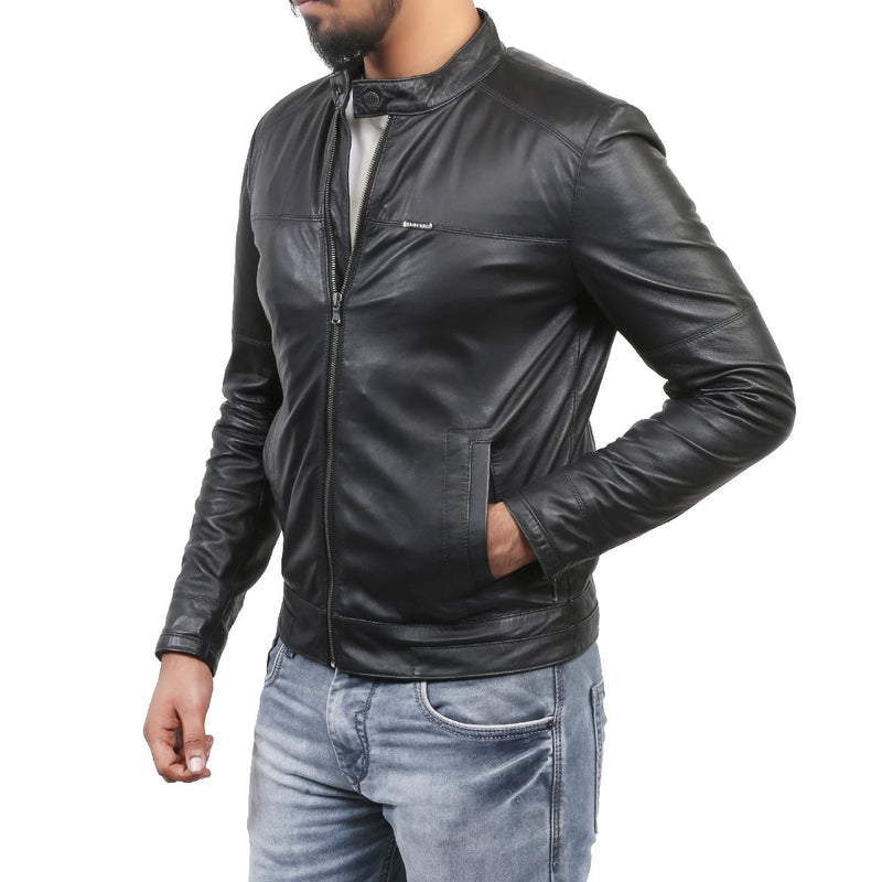 Bareskin Men's Modern Band Collar Black Leather Jacket