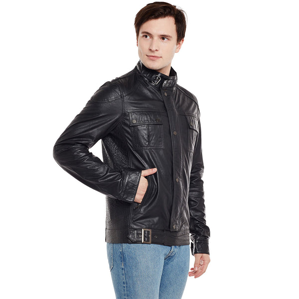 Bareskin Men'S Buckle Style Closure Black Leather Jacket