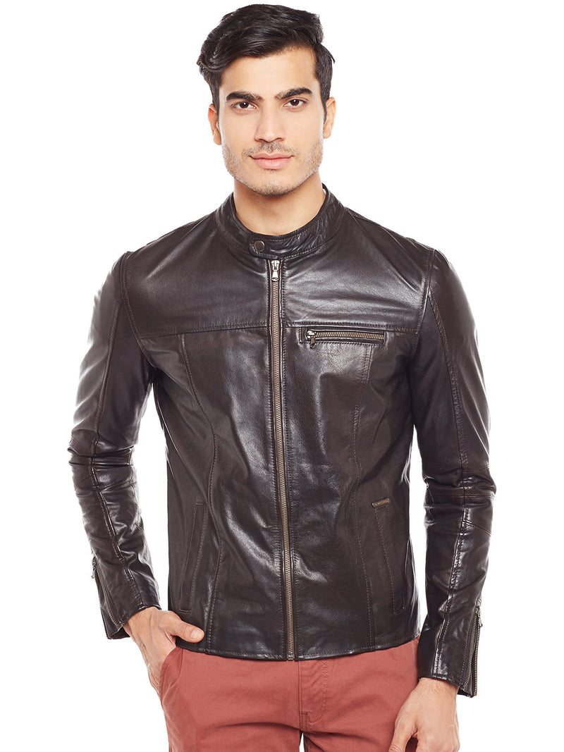 Bareskin Men's Band Collar Front Zipper Pockets Brown Leather Jacket
