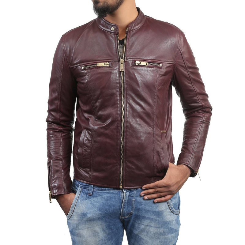 Bareskin Men's Band Collar Front Zipper Pockets Wine Leather Jacket