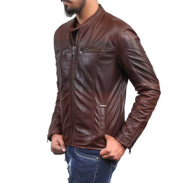 Bareskin Two Tone Dark Brown Leather Jacket For Men