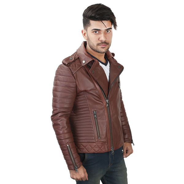 Bareskin Men's Tan Leather Quilted Biker Jacket