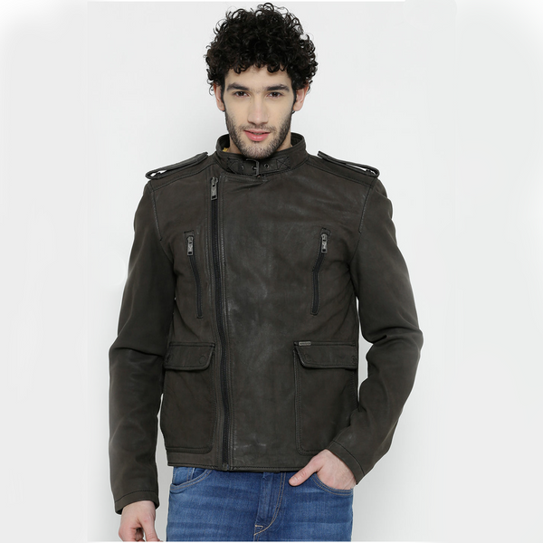 Bareskin Graphite Color Classic Biker Leather Jacket For Men