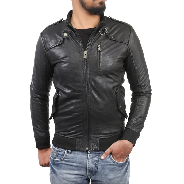 Bareskin Men's Rib Design Slim Fit Black Leather Jacket