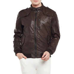 Bareskin Men's Dark Brown Buckle Style Ban Collar Leather Jacket