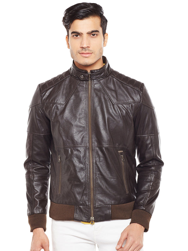 Bareskin Brown Colour Genuine Leather Bomber Jacket For Men