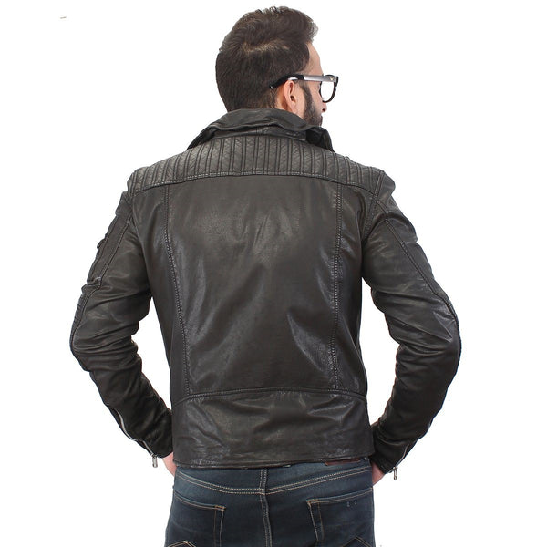 Men's Black With Padded Elbow 100% Genuine Leather Biker Jacket  By Bareskin