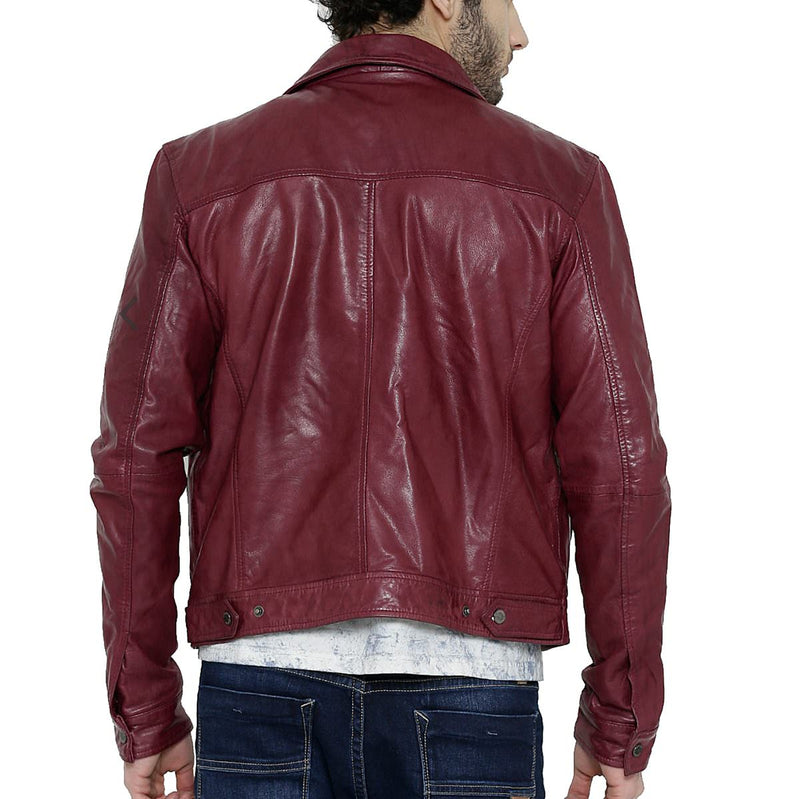 Bareskin Wine Colour Genuine Leather Classic Jacket For Men