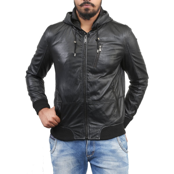 Bareskin Men'S Hoodie Style Black Leather Jacket