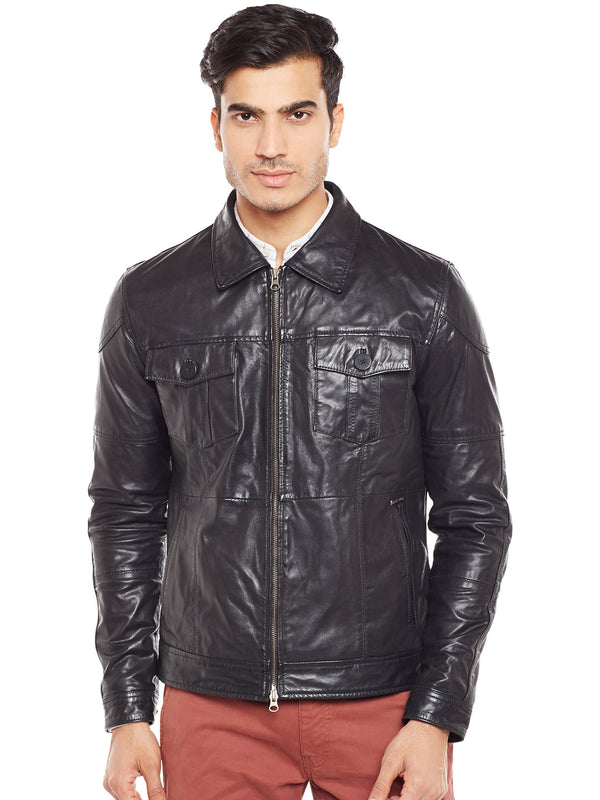 Black Genuine Leather Classic Jacket For Men By Bareskin