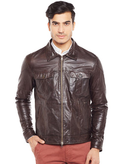 Brown Genuine Leather Classic Jacket For Men By Bareskin