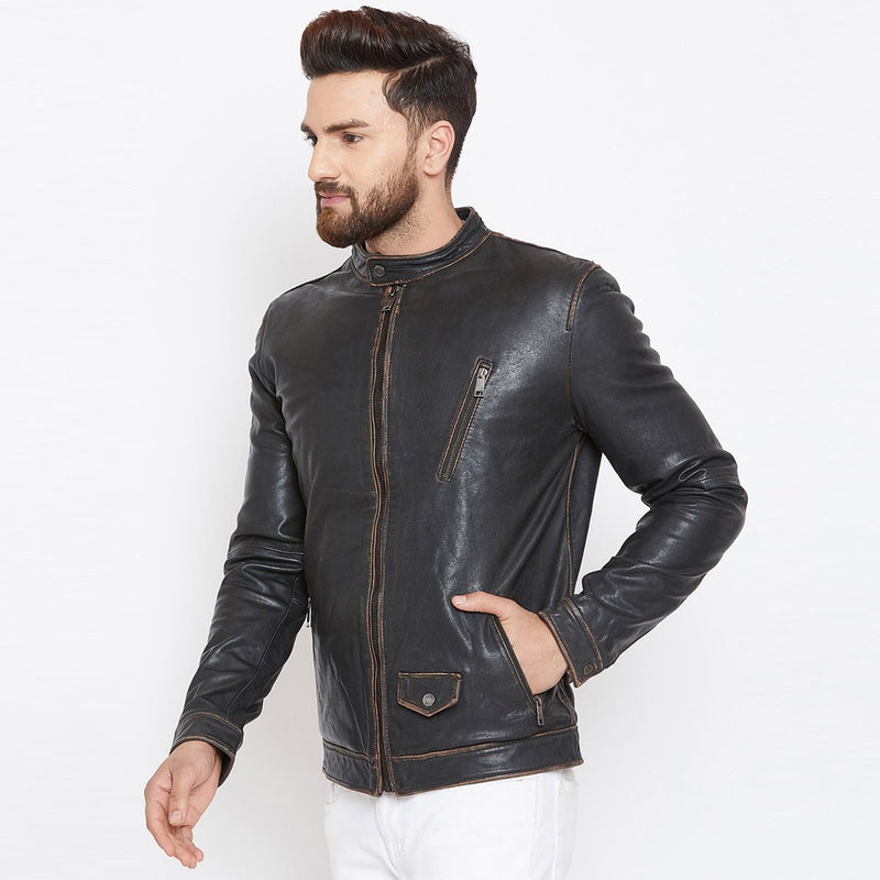 Bareskin Men's Slant Zip Pocket Black Leather Jacket