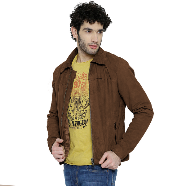 Bareskin Men's Cognac Color Suede Leather Jacket