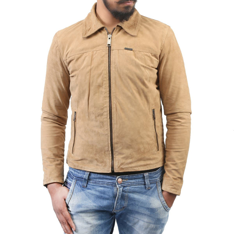 Bareskin Men's Beige Color Suede Leather Jacket