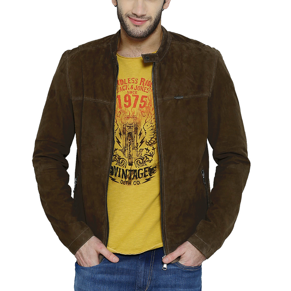 Bareskin brown colour genuine suede leather slim fit moto jacket for men