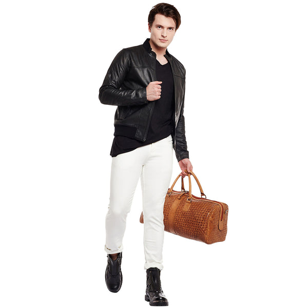 Bareskin Black Colour Genuine Leather Bomber Jacket For Men