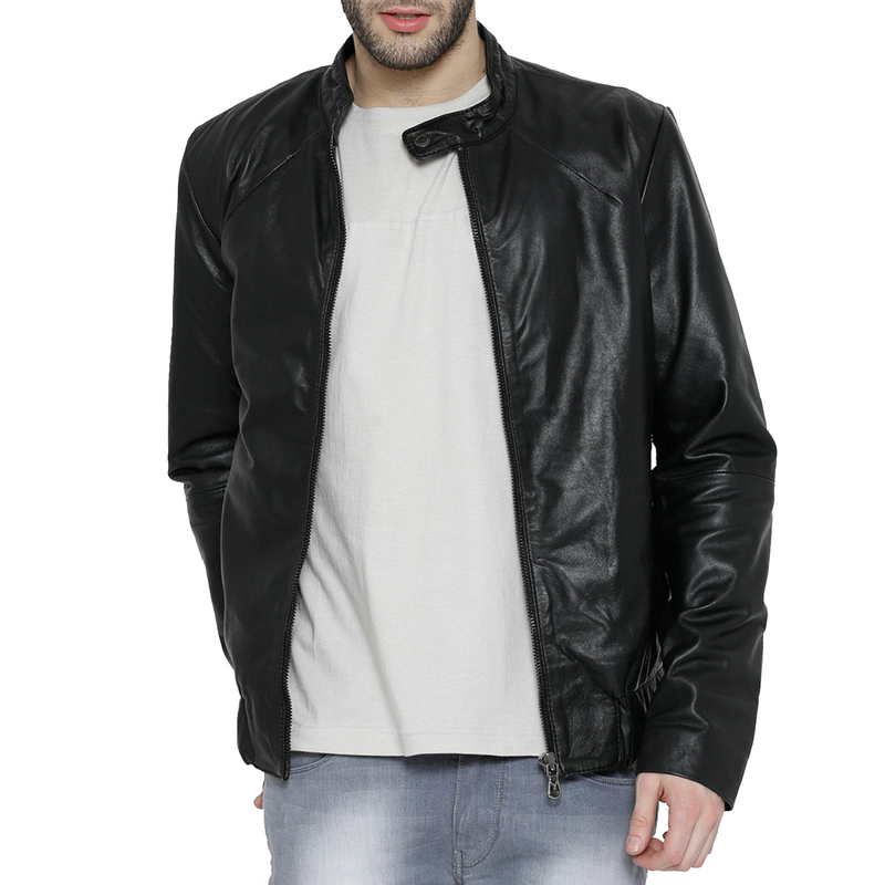 Men's Black 100% Genuine Leather With Band Neck Biker Jacket By Bareskin