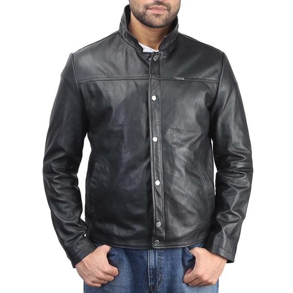 Bareskin Black 100% Genuine Leather Men's Jacket