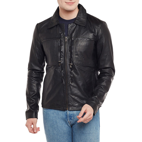 Bareskin Threaded Design Black Leather Jacket For Men