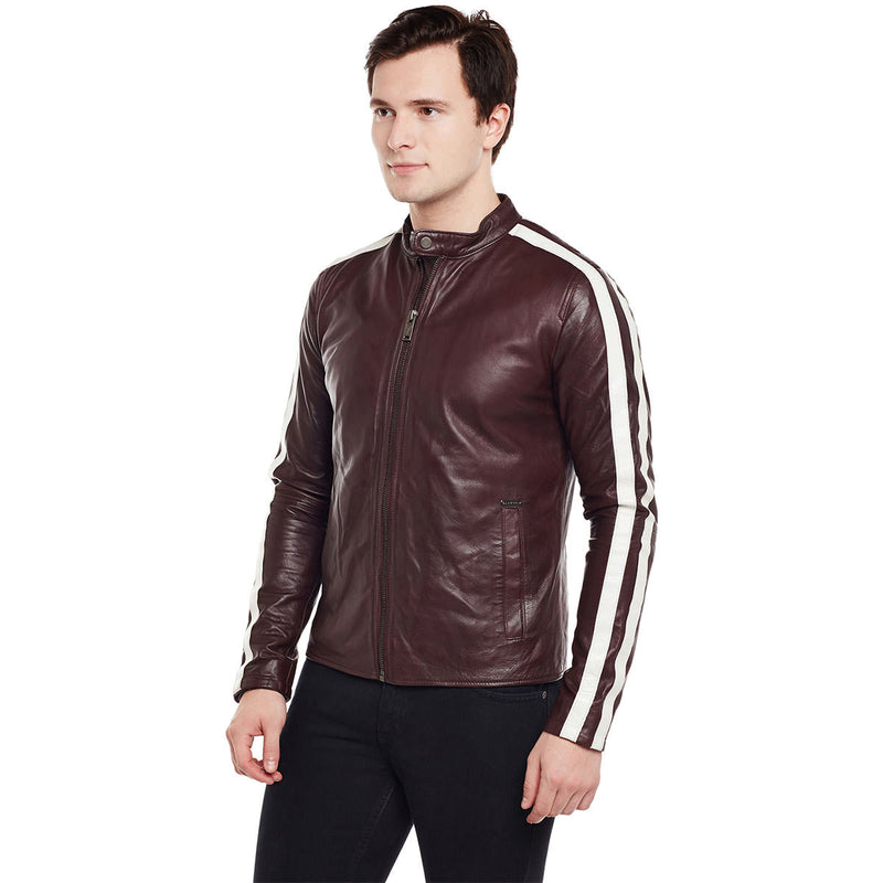 Bareskin Dual White Strips Wine Leather Men Jacket