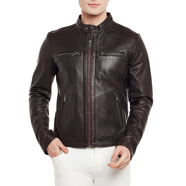 Bareskin Men's Dark Brown Ban Collar Dual Zip Leather Jacket