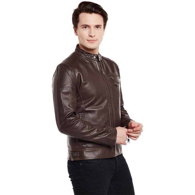 Bareskin Men's Dual Zip Pockets Brown Leather Jacket