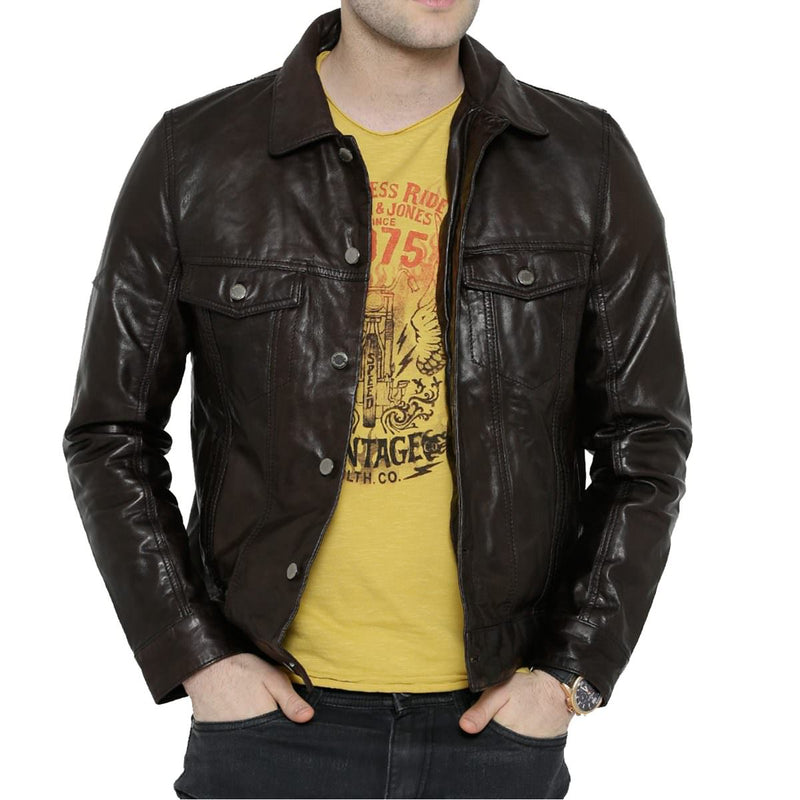 Bareskin Coffee Brown Colour Genuine Leather Classic Regular Fit Jacket For Men