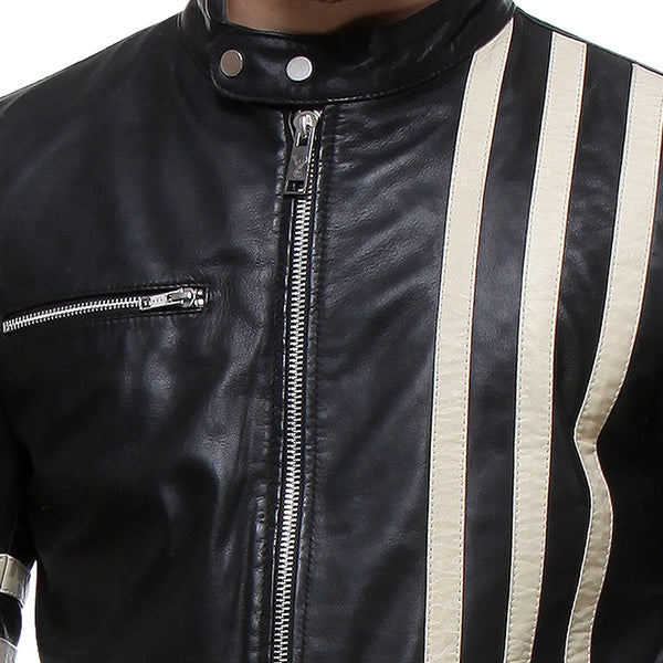 Bareskin Black Colour genuine Leather Biker Jacket with White leather Stripes for men