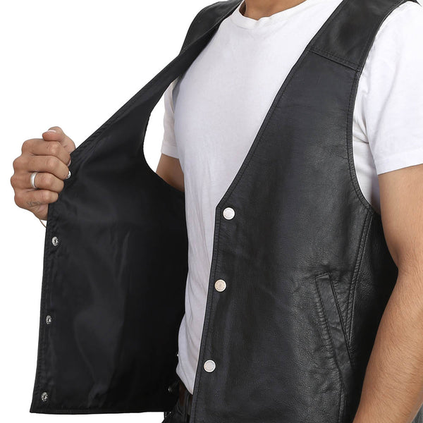 Bareskin Black Colour Genuine Leather Sleeveless Biker Vest For Men