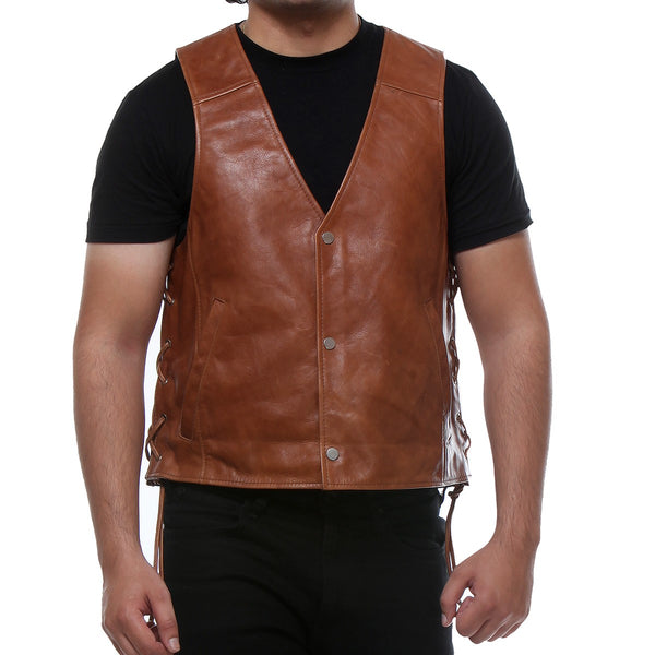 Bareskin Tan Colour Genuine Leather Sleeveless Biker Vest For Men