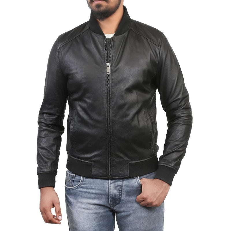 Bareskin Men's Rib Collar Zipper Black Leather Jacket