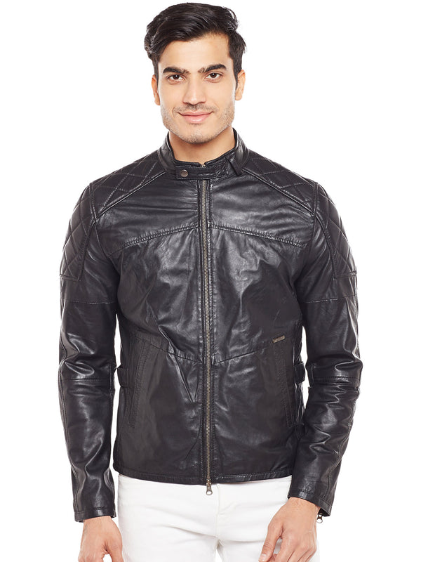 Bareskin Men's Quilted Design Shoulders Black Leather Jacket For Men